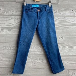 5T skinny jeans with black glitter piping